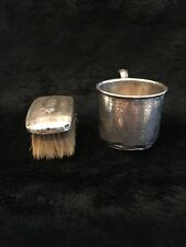 Vintage Birth Record Baby Sterling Silver Cup & Brush