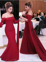 Red Mermaid Bridesmaid Formal Party Prom Dresses Celebrity Pageant Evening Gown