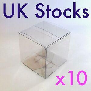10 x Medium Square Cube Clear PVC Boxes packaging transparent 59 x 59 x 59 mm