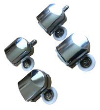 X4 X 23mm TOP / BOTTOM SHOWER DOOR TWIN ROLLERS WHEEL RUNNERS SET CHROME FINISH