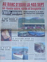 L'AUTO JOURNAL 1960 247 ESSAI PEUGEOT 403 SEPT FORD TAUNUS CITROEN DS 19