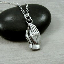 Silver Praying Hands Necklace - Prayer Faith Religion Charm Jewelry NEW