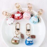 Cartoon Japan Lucky Cat Keychain Maneki Neko Trinkets Car Bag Pendant Key Ring