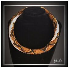 Python Snake Gold Brown Bead Crochet Jewelry Necklace Choker Seeds Rope NEW