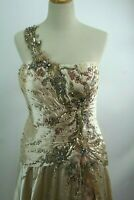 Camille La Vie Gown / Prom Dress Size 16 Tan with lots of embellishments