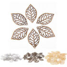 50Pcs Charm Leaves Filigree Metal Crafts Fashion Jewelry DIY Accessories Pendant