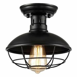 【Upgraded】ZOOSSI Cage Light Fixtures Black Metal Farmhouse Ceiling Light Semi...