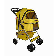 New BestPet Classic Yellow 4 Wheels Pet Dog Cat Stroller w/RainCover