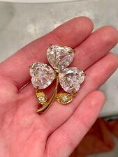 Vintage 18k Yellow Gold Plated and Swarovski Crystal Brooch Pin