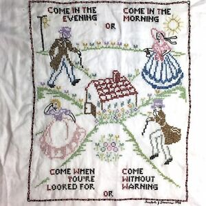 Vtg Embroidered Sampler Courtship Man Woman Unframed Complete Signed Dated 1940