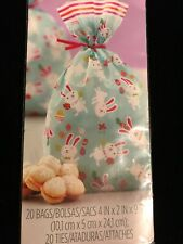 """Wilton 20 Easter Candy,Party Bags Bunny Dancing with Butterflies 4""""x9.5"""" NIP"""