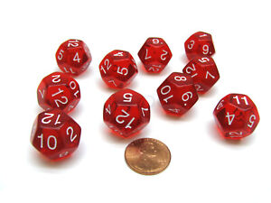 Pack of 10 Transparent 12 Sided D12 20mm Dice - Red