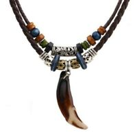 Unisex Bohemia Wolf Dog Tooth Pendant Wooden Beaded Leather Weaved Necklace aa