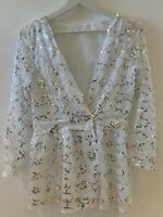WHITE SEQUIN TOP JACKET M WORK PARTY CLUB GLAM HOLIDAY IBIZA MARBS PRETTY BOHO