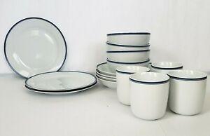 William Sonoma Open Kitchen White Blue Dinnerware Set Of 15
