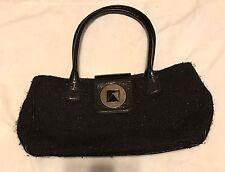 Kate Spade Turnlock Bexley Maddox Black Wool Tweed Leather Handbag Satchel Tote