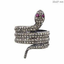 Pave 1.79ct Real Diamond Wrap SNAKE Ring Sterling Silver Vintage Style Jewelry 7