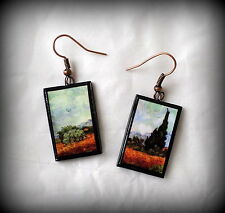 Wheat Fields with Cypresses Vincent Van Gogh Earrings Handmade Polymer Clay NEW!