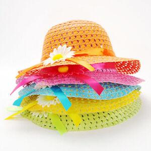 Lovely Girls Kids Straw Hat Cap Summer Sun Hat Flower Children Beach Hats Cap
