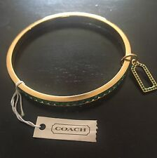 NWT Coach Gold & Green Pave Bangle Crystal Bracelet 96416! Sold Out!