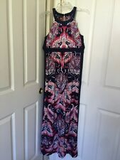Womens INC Feathered Paisley-Print Halter Maxi Dress Sz M