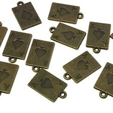 10 X Aleación de Zinc Color Bronce Antiguo Metal Ace of Spades encantos 20 Mm x 12 mm