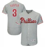Bryce Harper Philadelphia Phillies Jersey Gray Flex base Mens M-2XL