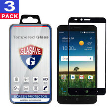 (3 Pack) GLASAVE ZTE Z983 Blade X Max FULL COVER Tempered Glass Screen Protector