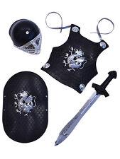 Boy Black Knight Toy Plastic Armour Set Helmet Sword Shield Fancy Dress Crusader