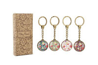 RETRO DITSY FLORAL GLASS KEYRING - 1 PER ORDER - BRAND NEW GREAT GIFT