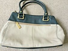 Tignanello Beige & Black Leather Three-Compartment Handbag New