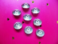 8 new Italian silver metal crested buttons with full metal back 21 mm.diam.