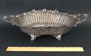 Antique 1926 German Wollenweber 817 Silver Woven Basket Centerpiece Bowl, NR