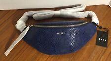 NWT DKNY Sally Royal Blue Silver Snake Leather Belt Bag Fanny Pack Dust Bag $228