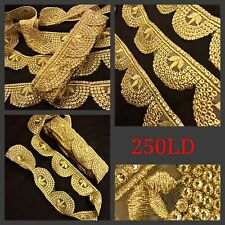 2 Meter Zari Gold Sequin Cutwork Trim Sari Border SewOn Craft Lace Ribbon Fringe