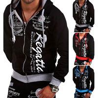 Mens Print Winter Slim Hoodie Warm Hooded Sweatshirt Coat Jacket Outwear Sweater
