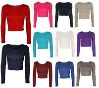 Womens Crop Top Long Sleeve Crew Scoop Neck, Short T Shirt Dress Ladies Bralet