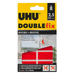 UHU DOUBLEfix invisible mounting strips Home Decoration 12pcs *perfect for glass