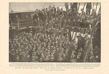 "1900 ANTIQUE PRINT -  BOER WAR- CITY IMPERIAL VOLUNTEERS ON SS ""GARTH CASTLE"""