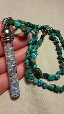 Large glass tube floating opals and turquoise necklace
