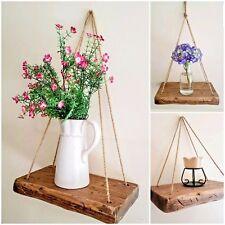 Rustic Chunky Handmade driftwood style Solid Wood shelf Hanging Rope Shelf