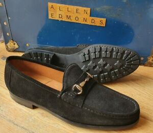 NEW RARE Allen Edmonds LUCCA Black Suede Horsebit Casual Loafers  UK 9.5 US 10 D
