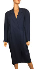 Vintage Ann Taylor NEW Wrap Belted Coat Jacket Navy Blue Size 14 -Hong Kong
