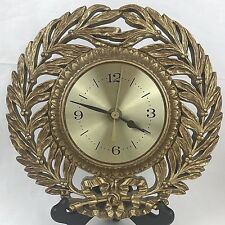 Burwood Products Co USA Wall Clock MCM Gold Branch VTG 1969 Battery 9.5 Inches