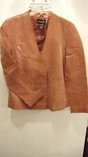 LADIES CROCODILE PATTERN 100% LEATHER BLAZER WAIST COAT JACKET SIZE 8