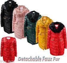 New Ladies Puffer Heavy Padded Women Long Coat Winter Detachable Faux Fur Jacket