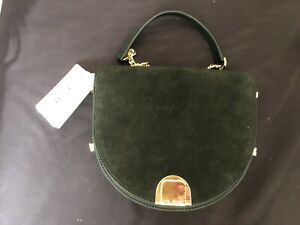 NWT Ted Baker Flossi  Mini Suede Detail Moon Bag in Green