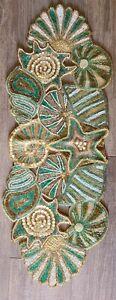 Vintage Pier 1 Seashell Beaded Table Runner Turquoise Mint Teal Gold White Beach