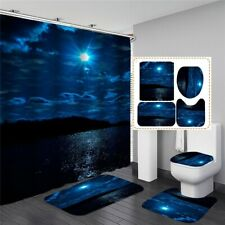 Psychedelic Moonlight At Sea Bathroom Sets Shower Curtain Bath Mats Toilet Rugs