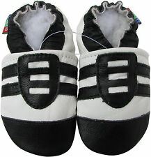 carozoo sports black white 6-12m soft sole leather baby shoes
